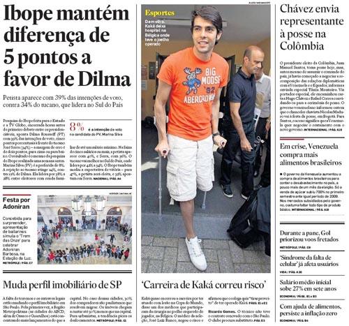 Reprodução da capa do 'Estadão' do dia 07/08/2010 com a foto de Julien Warnand da Efe