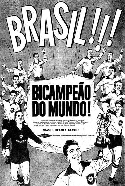 1962.6.19 brasil bicampeão do mundo copa futebol gilette2