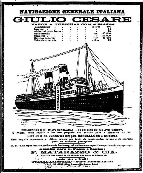 1922.03.12 navio para a itália turismo transporte2