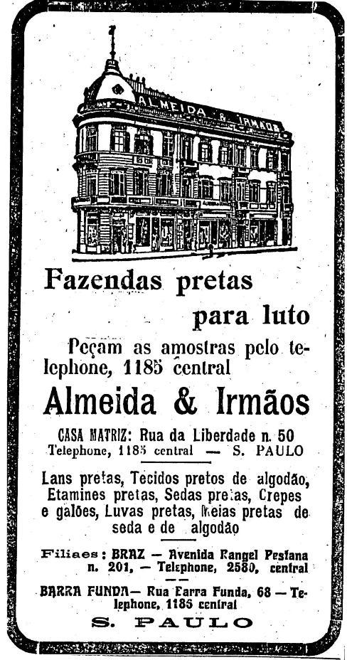 Comércio de tecidos em 12 de novembro de 1918