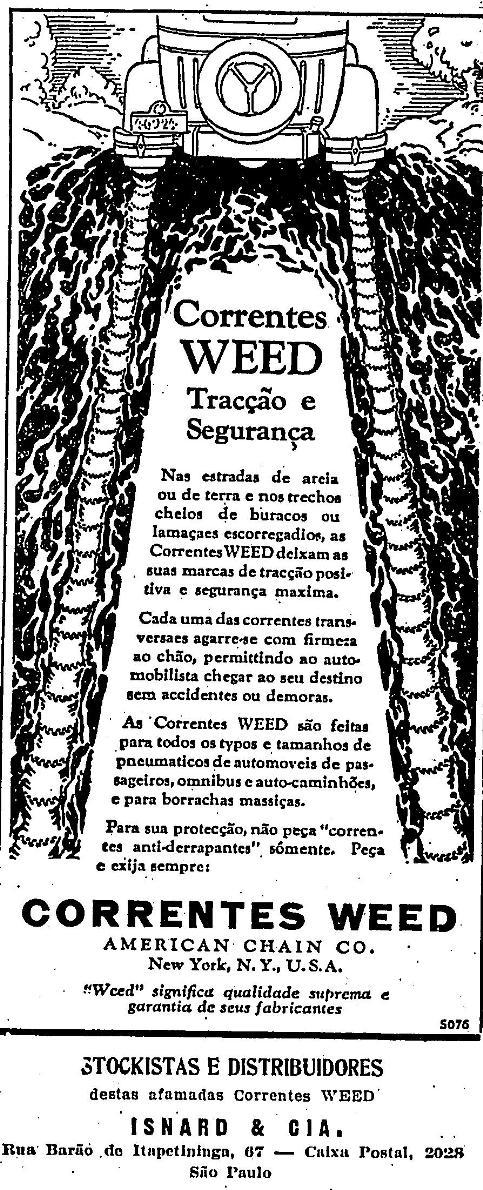 Correntes para desencalhar veículos no Estadão de 1929