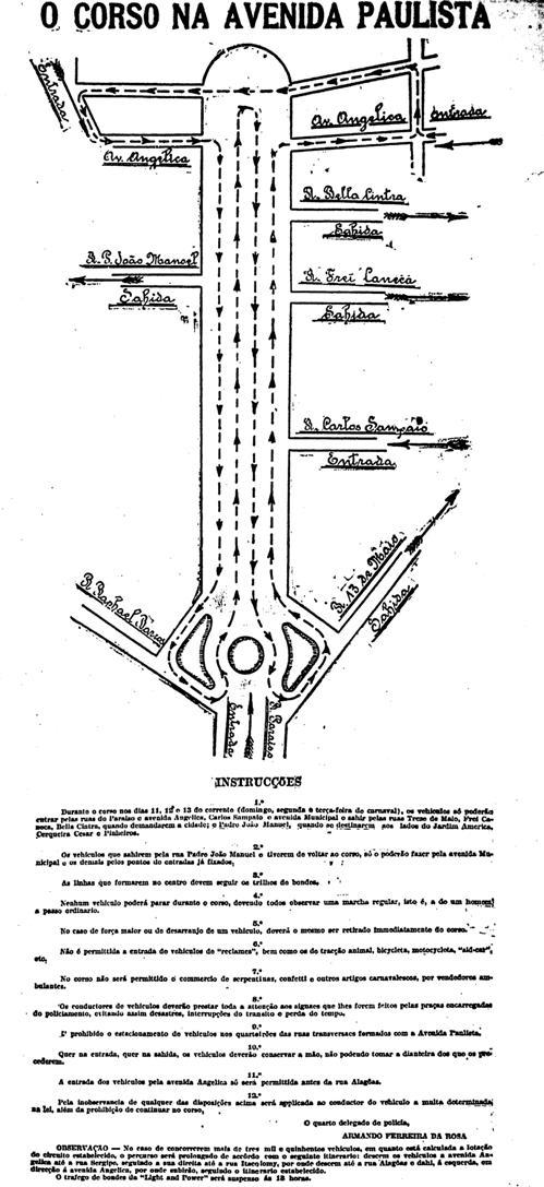 Regras do corso na Paulista no carnaval de 1923