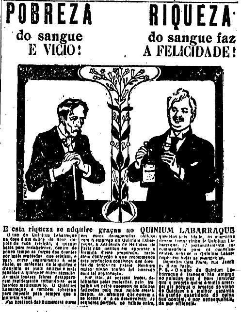 Pobreza e riqueza em anúncio de 1916