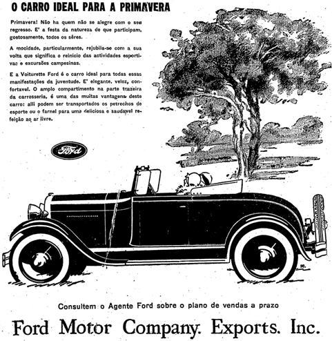 Modelo conversível da Ford em 1929: ideal para a primavera