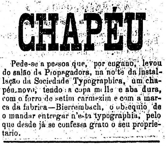 Chapéu perdido em 1876