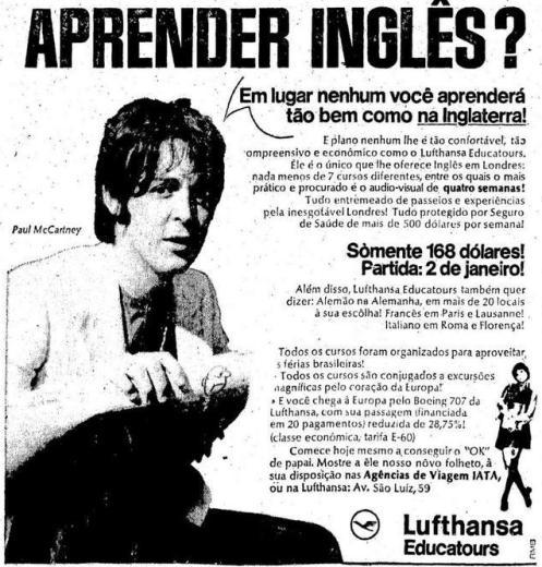 Paul em 1970 em anúncio de curso de inglês