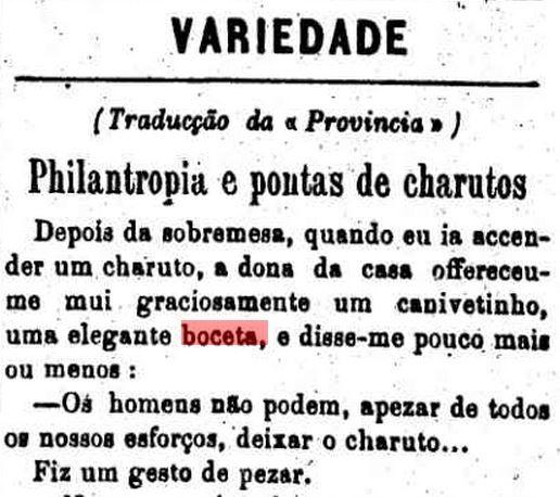 Boceta oferecida, em 10 de janeiro de 1876