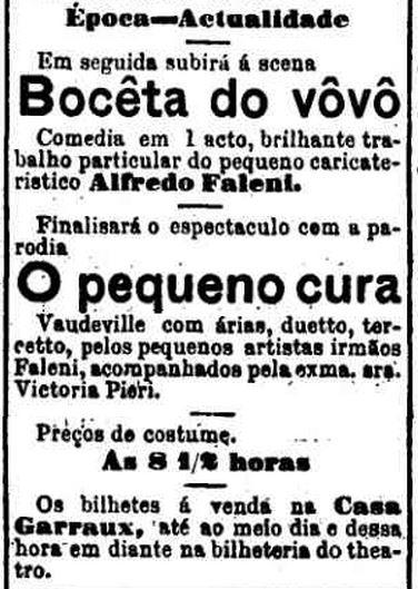 Boceta do vovô: peça teatral anunciada em 13 de setembro de 1888