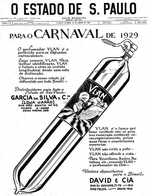 Lança-perfume na capa do Estadão em 1929