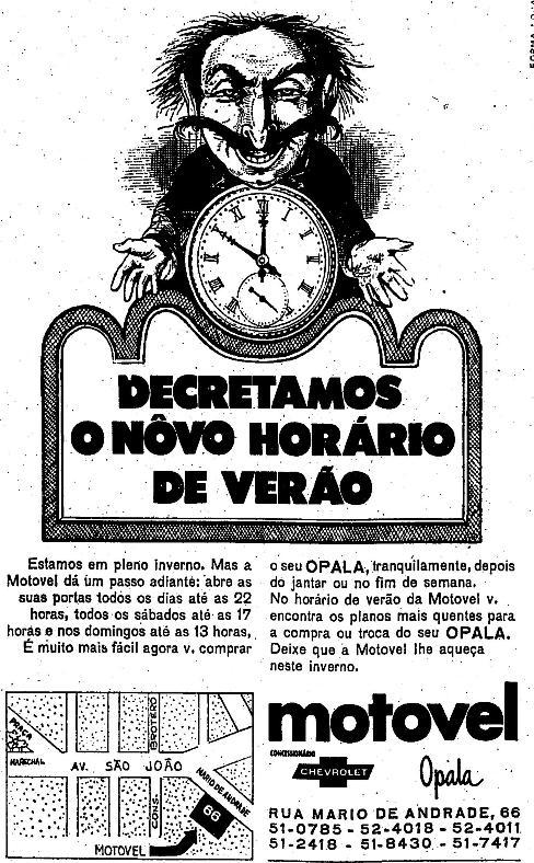 Horário de verão em anúncio de 1970