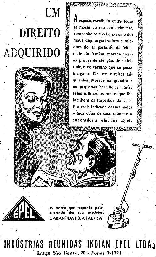 Anúncio de enceradeira em 1947 no Estadão