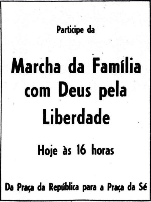 Convocação para a Marcha da Família com Deus pela Liberdade em 1964