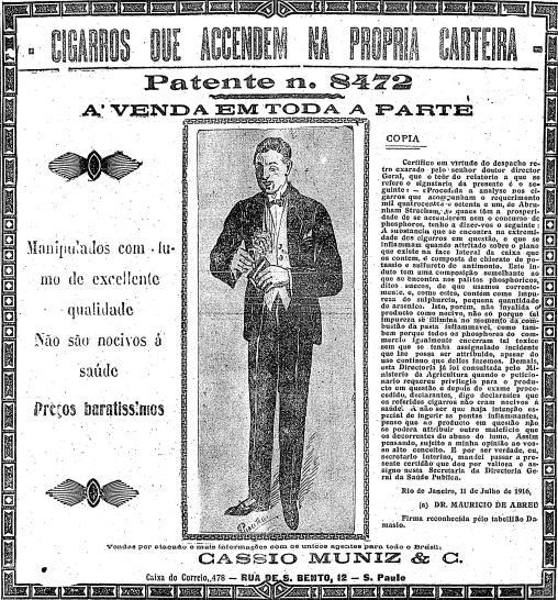 Cigarro que acende na própria carteira em 1916