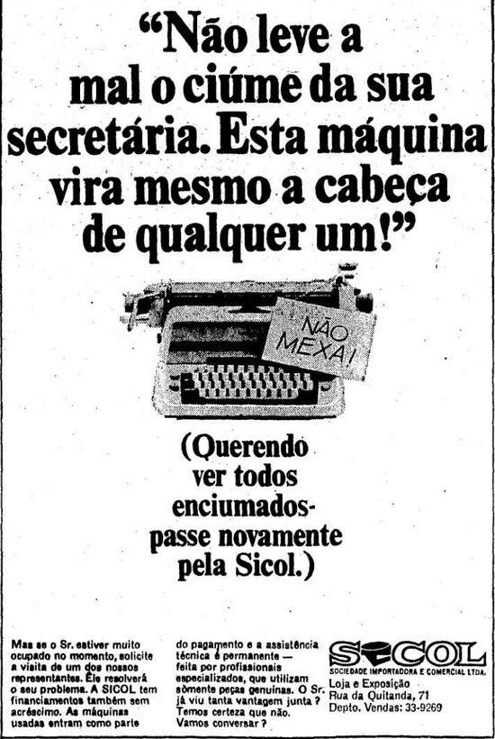 Máquina de escrever em 1965