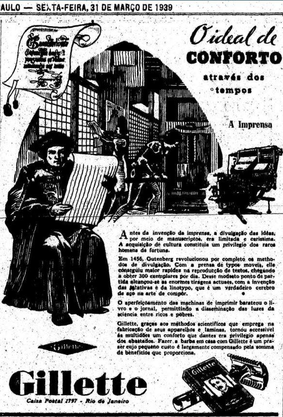 Gillette e a imprensa, no Estadão de 1939