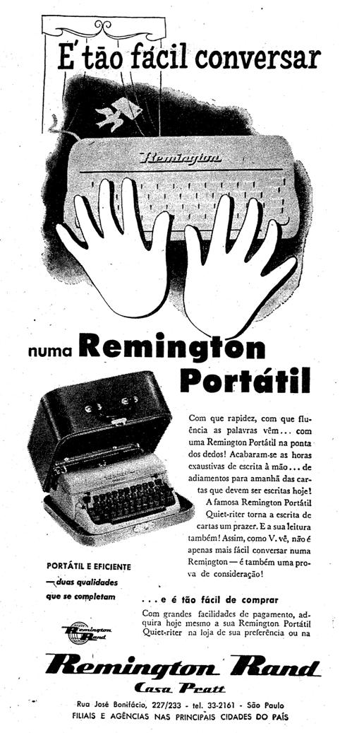 Máquina de escrever em 1957